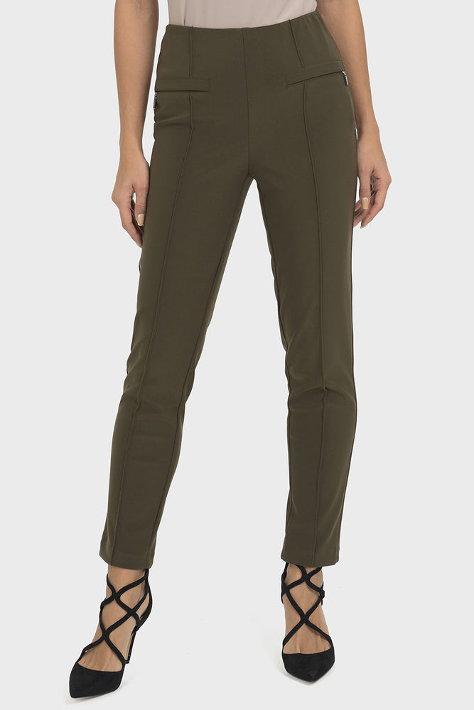Joseph Ribkoff Style 171094H Safari Green Pleated Slip-On Ankle Pants