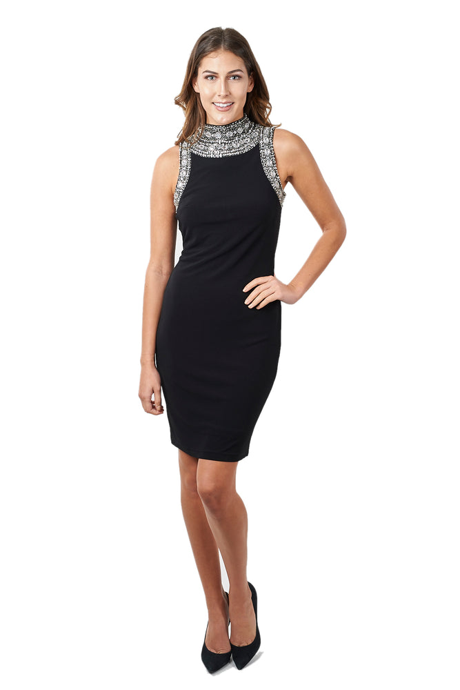 Joseph Ribkoff Style 171950 Black Jewel Accent Halter Cocktail Dress