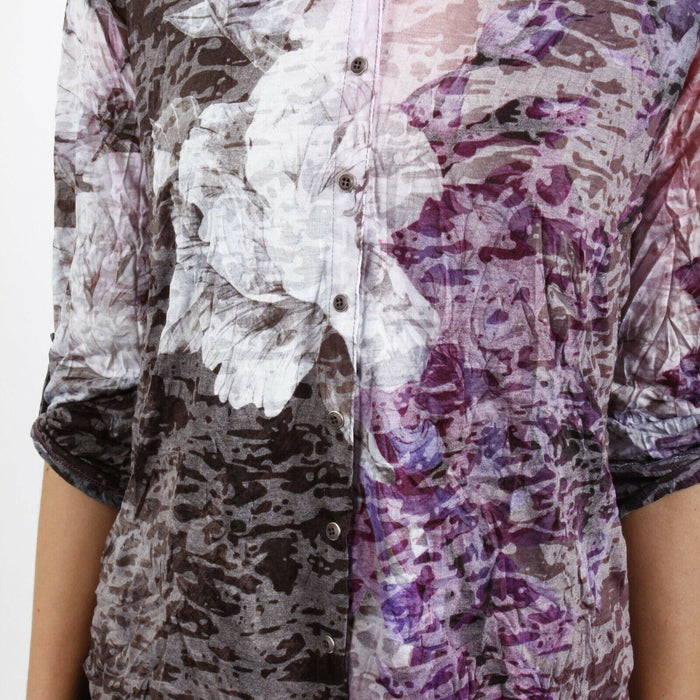 David Cline Purple/Grey Floral Crushed 3/4 Sleeve Button-Down Shirt DC001 NEW
