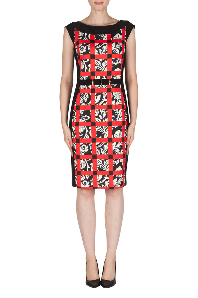 Joseph Ribkoff Style 181720 Black White Red Check Floral Print Sheath Dress