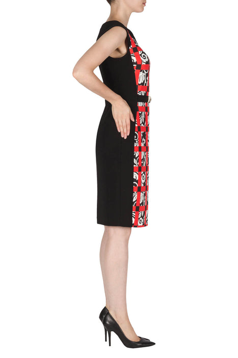 Joseph Ribkoff Black/White/Red Check Floral Print Sheath Dress 181720 NEW