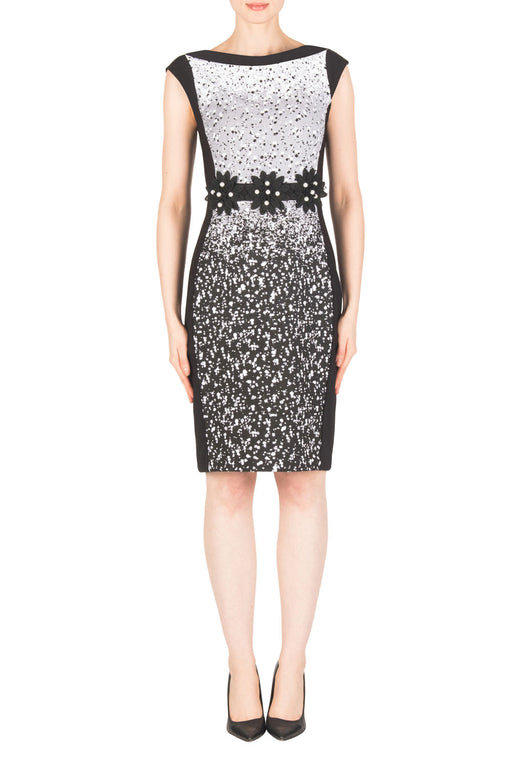 Joseph Ribkoff Style 183543 Black White Floral Pearl Accent Cap Sleeve Sheath Dress