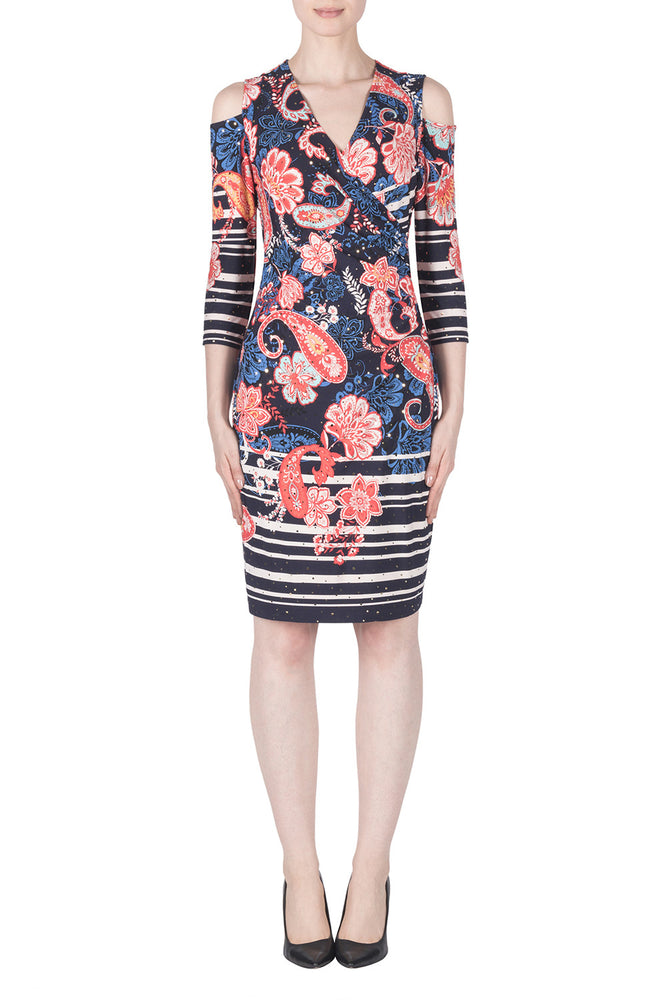 Joseph Ribkoff Style 183587 Multicolor Spangled Paisley Floral Print Sheath Dress