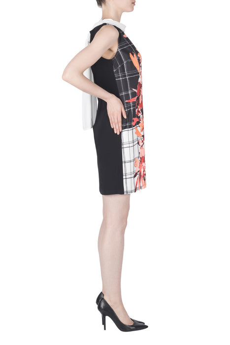 Joseph Ribkoff Black/Multi/Vanilla Floral Check Print Sleeveless Tunic Dress 183763 NEW