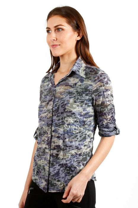 David Cline Multi Camouflage Crushed 3/4 Sleeve Button-Down Shirt DC003 NEW
