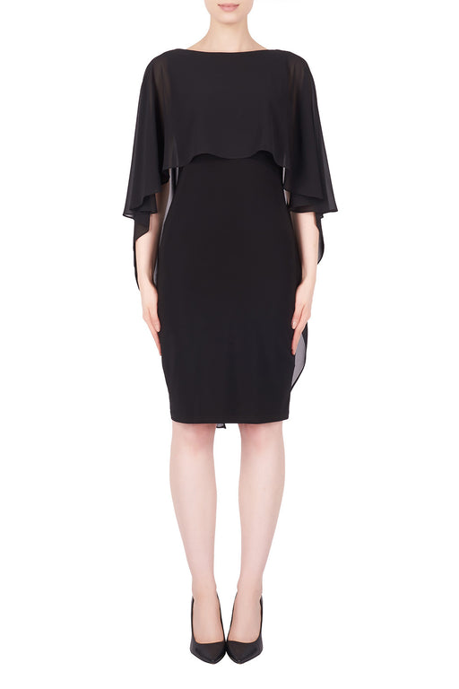 Joseph Ribkoff Style 184203 Black Chiffon Overlay Cape Sleeves Sheath Dress