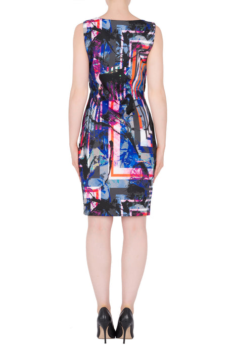 Joseph Ribkoff Black/Multi Abstract Print Grommet Trim Sheath Dress 184712 NEW