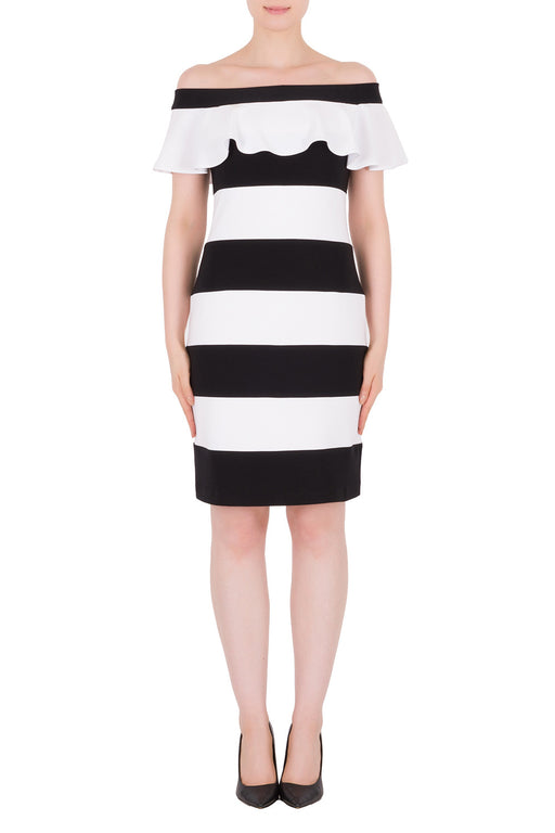 Joseph Ribkoff Style 191040 Black White Striped Ruffled Off-Shoulder Sheath Dress