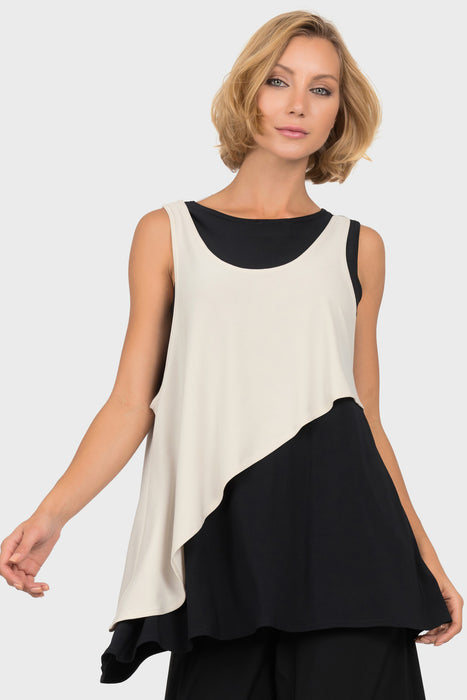 Joseph Ribkoff Style 191081 Black Champagne Layered Color Block High-Low Hem Top