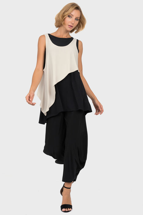 Joseph Ribkoff Black/Champagne Layered Color Block High-Low Hem Top 191081 NEW