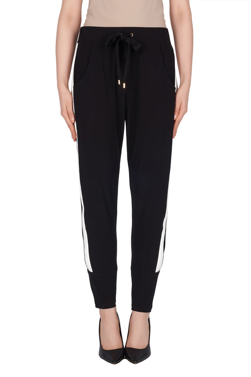 Joseph Ribkoff Style 191110 Black Vanilla Striped Look Through Jogger Pants