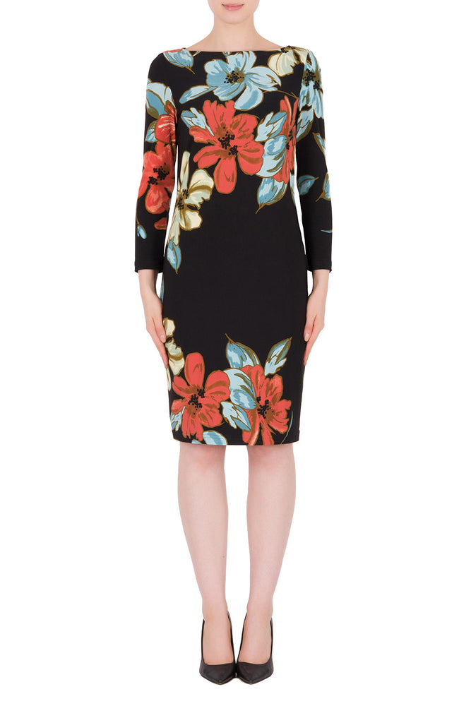 Joseph Ribkoff Style 191634 Black Multicolor Floral Print 3/4 Sleeve Sheath Dress