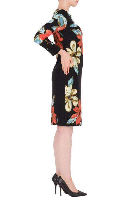 Joseph Ribkoff Black/Multi Floral Print 3/4 Sleeve Sheath Dress 191634 NEW