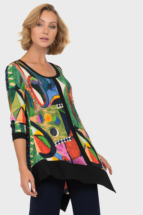Joseph Ribkoff Style 191642 Multicolor Black Abstract Print 3/4 Sleeve Bias-Cut Blouse