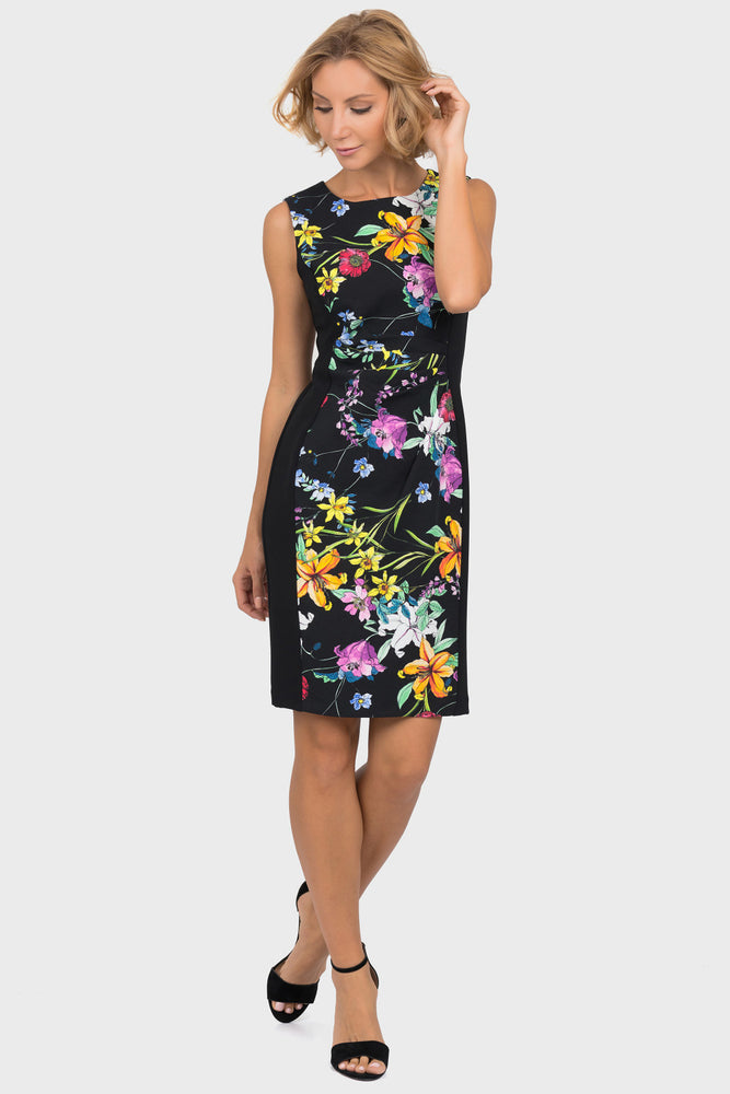 Joseph Ribkoff Style 191667 Black Multicolor Floral Print Ruched Sleeveless Cocktail Dress