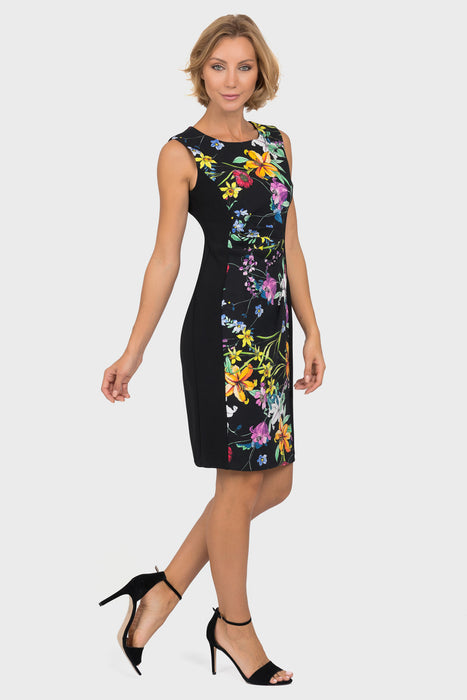 Joseph Ribkoff Black/Multi Floral Print Ruched Sleeveless Cocktail Dress 191667 NEW