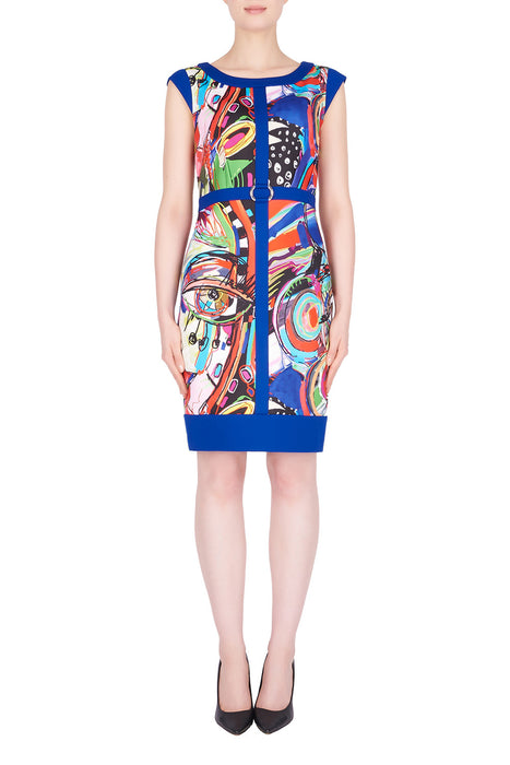 Joseph Ribkoff Style 191696 Blue Multicolor Abstract Print Cap Sleeve Sheath Dress