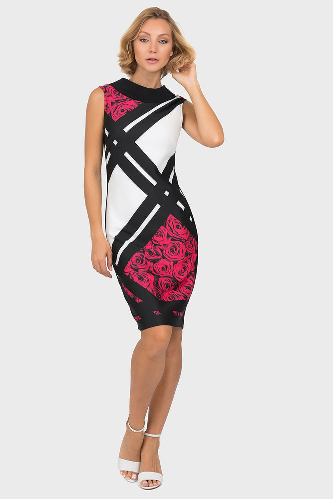 Joseph Ribkoff Style 191709 Black Multicolor Color Block Floral Print Sheath Dress