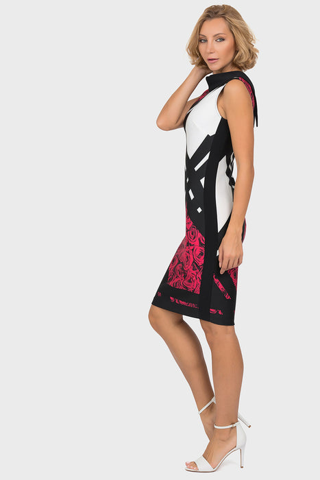 Joseph Ribkoff Black/Multi Color Block Floral Print Sheath Dress 191709 NEW