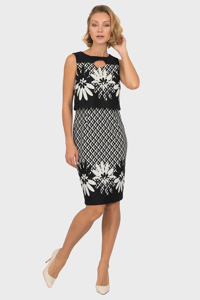 Joseph Ribkoff Style 191820 Black Off-White Floral Geometric Print Tiered Bodycon Dress