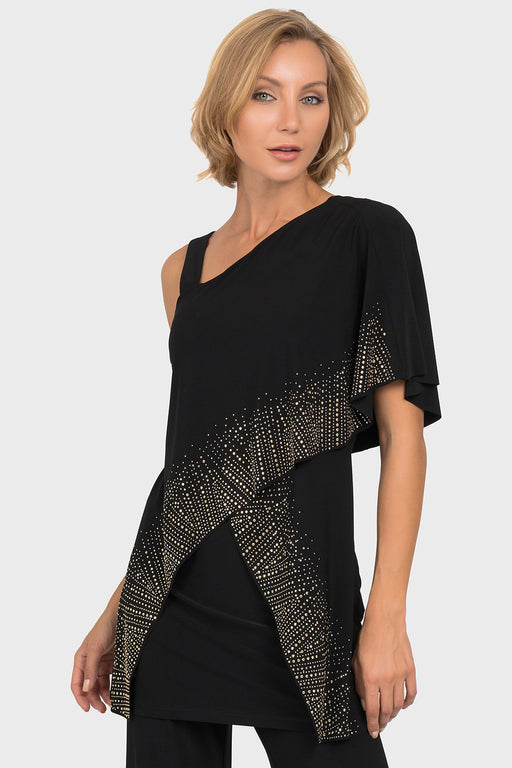 Joseph Ribkoff Style 192074 Black Spangled Overlay One-Shoulder Tunic Top