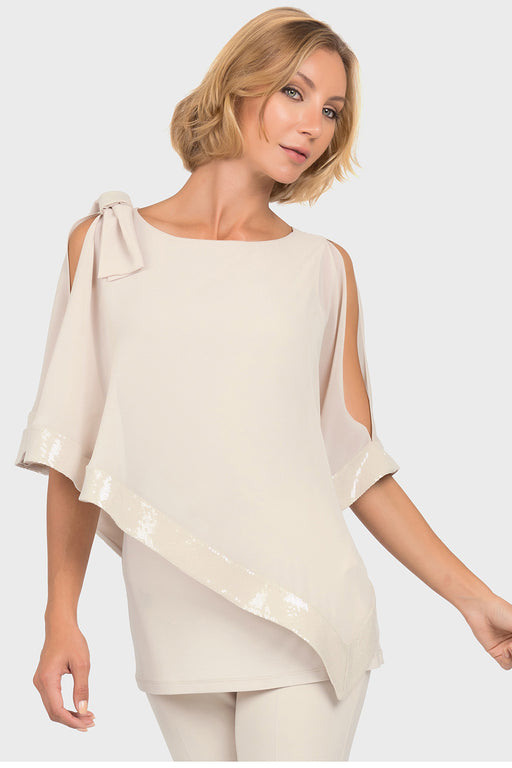 Joseph Ribkoff Style 192460 Champagne Sequined Asymmetric Overlay Tunic Top