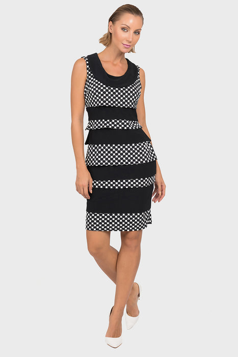 Joseph Ribkoff Style 192844 Black White Polka Dot Banded Textured Sleeveless Shift Dress