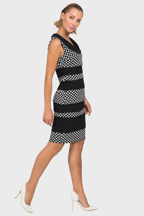 Joseph Ribkoff Black/White Polka Dot Banded Textured Shift Dress 192844 NEW