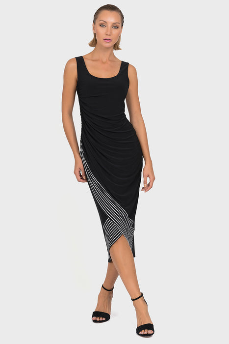 Joseph Ribkoff Style 192909 Black White Striped Tulip Hem Ruched Sleeveless Midi Dress