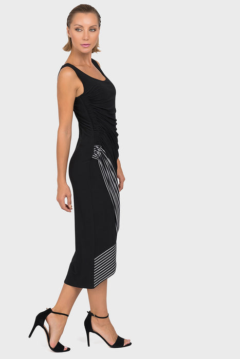 Joseph Ribkoff Black/White Striped Tulip Hem Sleeveless Midi Dress 192909 NEW