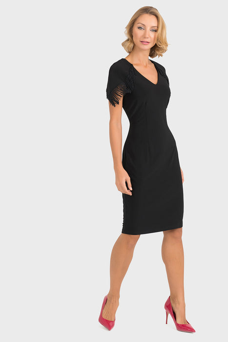 Joseph Ribkoff Style 193002 Black V-Neck Fringe Trim Cap Sleeve Sheath Dress