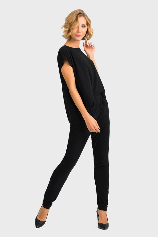 Joseph Ribkoff Style 193052 Black Layered Tapered-Leg Jumpsuit