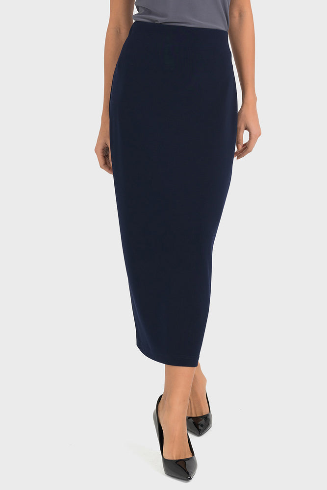 Joseph Ribkoff Style 193092 Midnight Blue Straight Cut Slip-On Midi Skirt