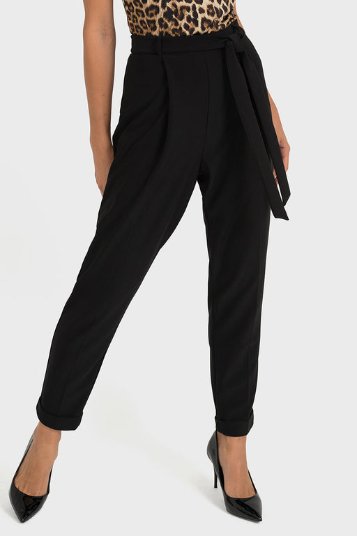 Joseph Ribkoff Style 193124 Black Tie-Up Belted Look Cropped Pants