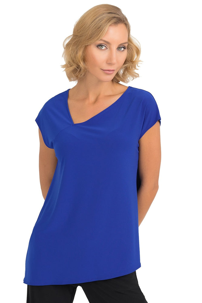 Joseph Ribkoff Style 193127 Royal Sapphire Asymmetric Neck Short Sleeve Top