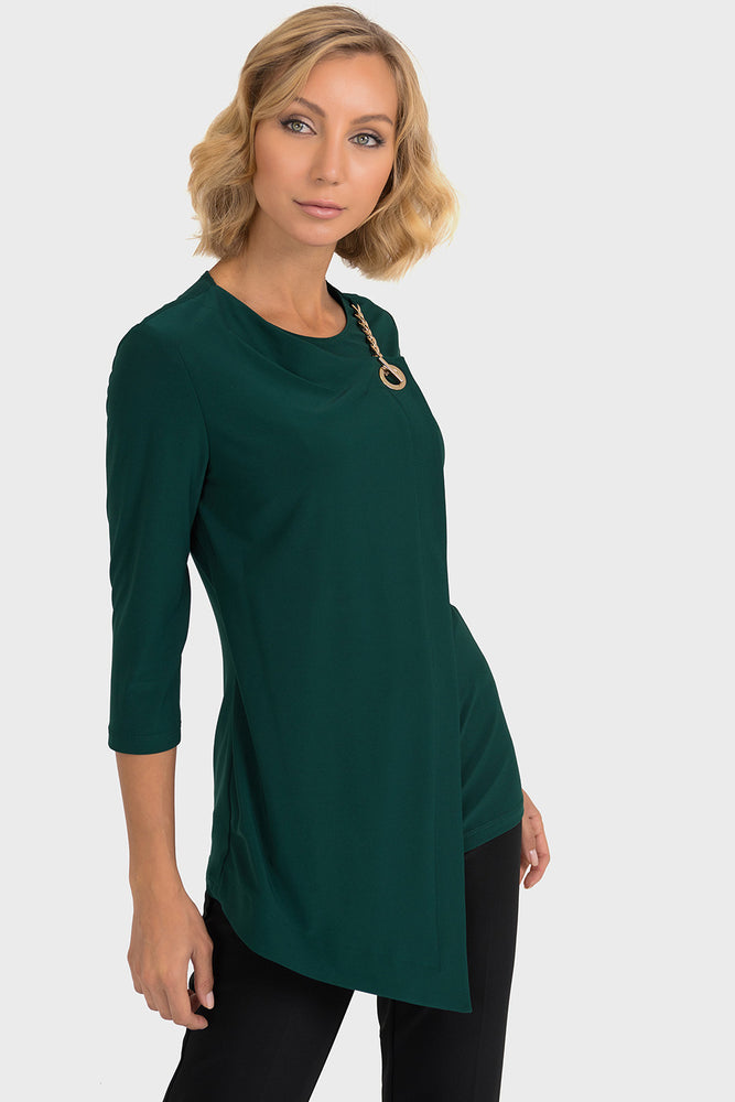 Joseph Ribkoff Style 193129 Emerald Green Grommet Chain Detail Wrap Style Top