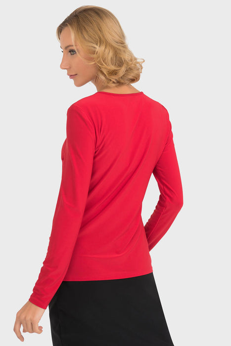 Joseph Ribkoff Lipstick Red Round Neck Ruched Side Fitted Top 193143 NEW
