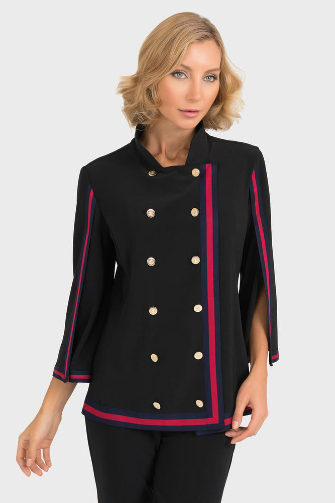 Joseph Ribkoff Style 193190 Black Red Striped Edge Buttons Accent Jacket