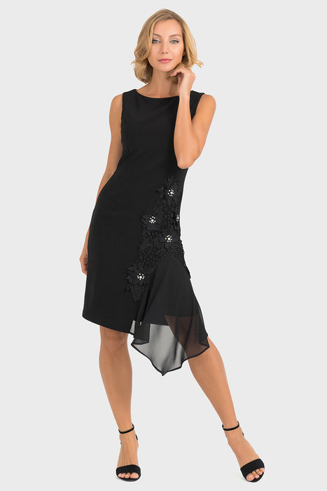 Joseph Ribkoff Style 193201 Black Floral Applique Sheer Overlay Sheath Dress