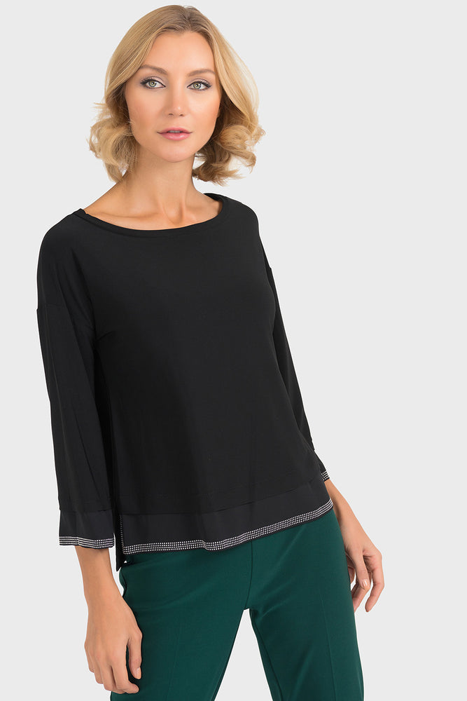 Joseph Ribkoff Style 193251 Black Embellished 3/4 Sleeve Edged Top