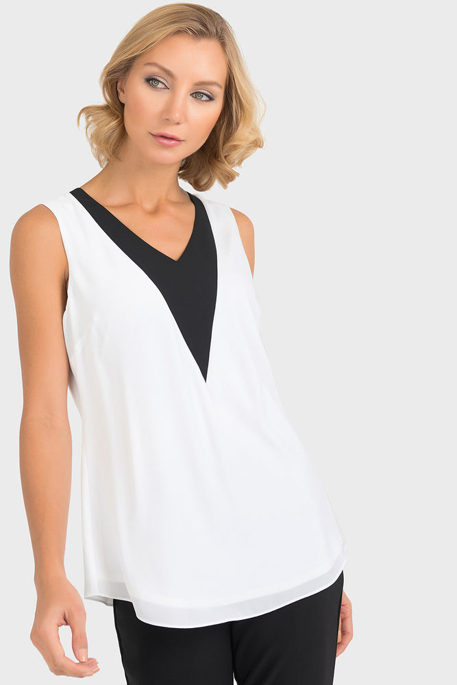 Joseph Ribkoff Style 193257 Off-White Black Two-Tone Layered Sleeveless Top