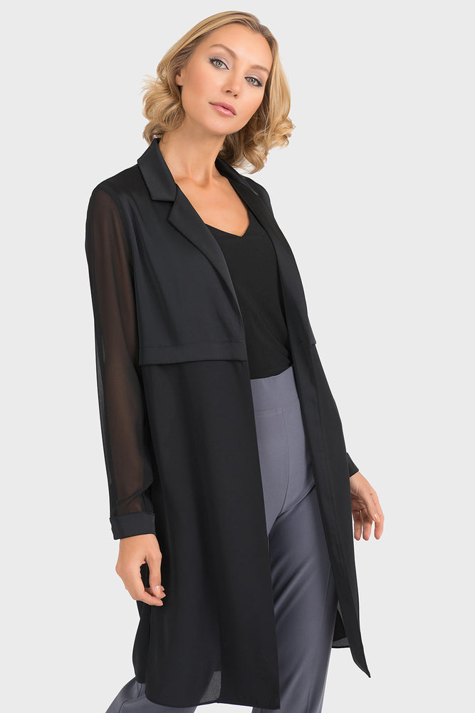 Joseph Ribkoff Style 193261 Black Tonal Semi-Sheer Long Sleeve Open Front Cardigan