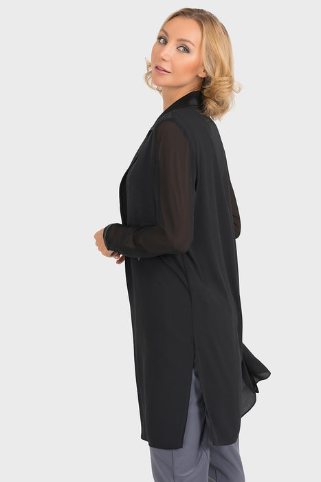 Joseph Ribkoff Black Tonal Semi-Sheer Open Front Cardigan 193261 NEW