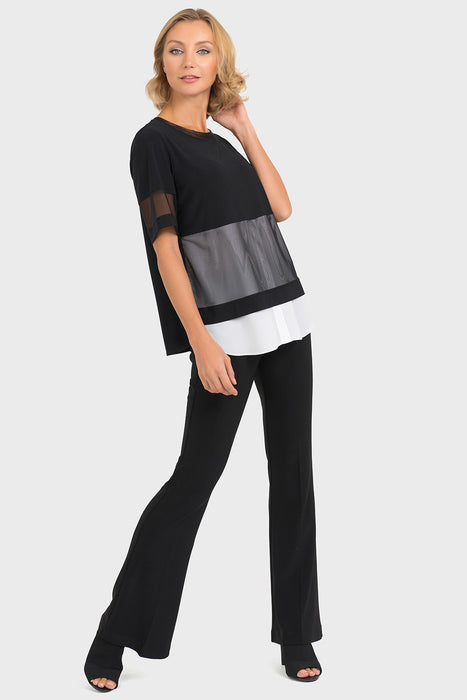 Joseph Ribkoff Black/Off-White Stripe Sheer Panel Top 193302 NEW