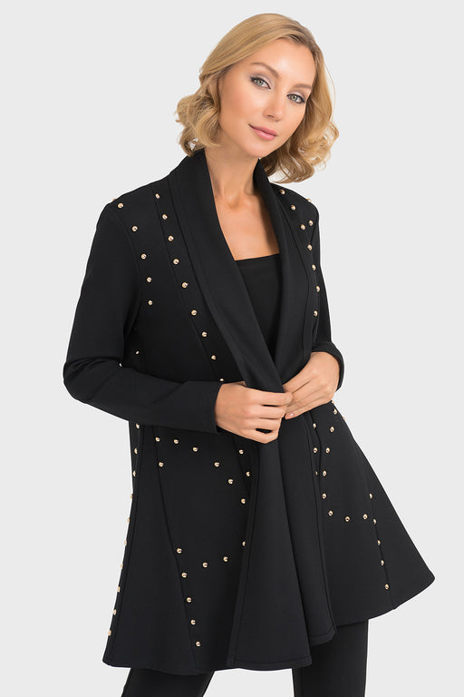 Joseph Ribkoff Style 193355 Black Studded Accents Open Front Coat Jacket