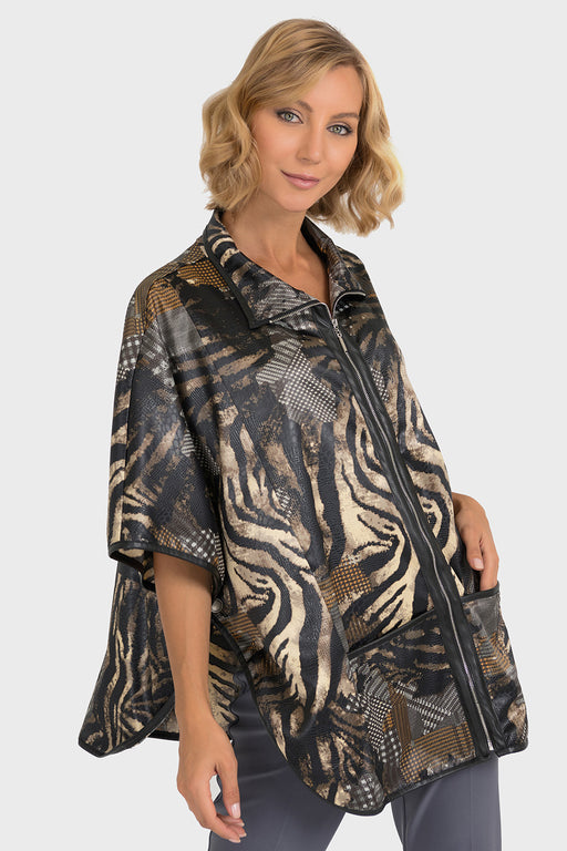 Joseph Ribkoff Black/Multi Printed Faux Leather Zip-Up Poncho 193400 NEW