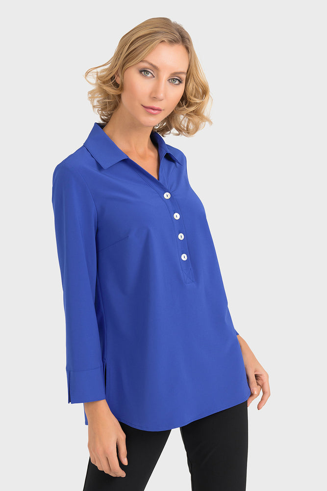 Joseph Ribkoff Style 193417 Blue Button Closure 3/4 Sleeve Blouse
