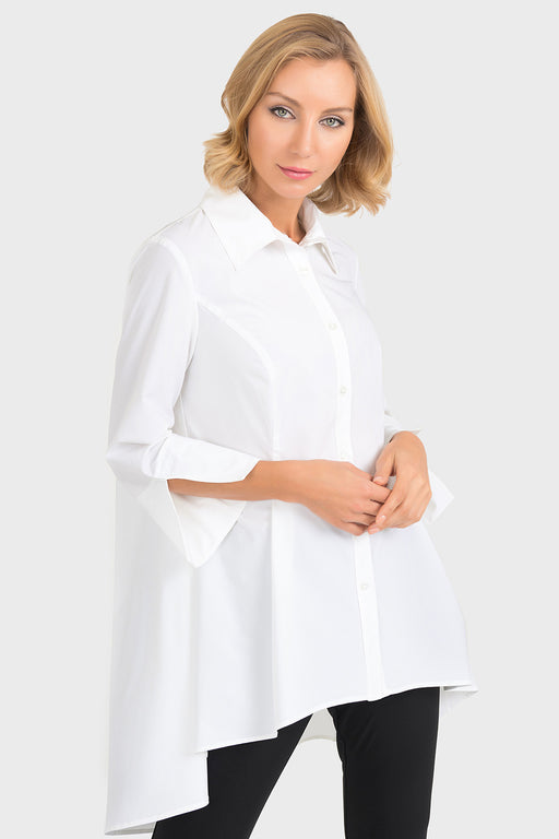 Joseph Ribkoff Style 193418 White Pleated Button-Down High-Low Hem Blouse