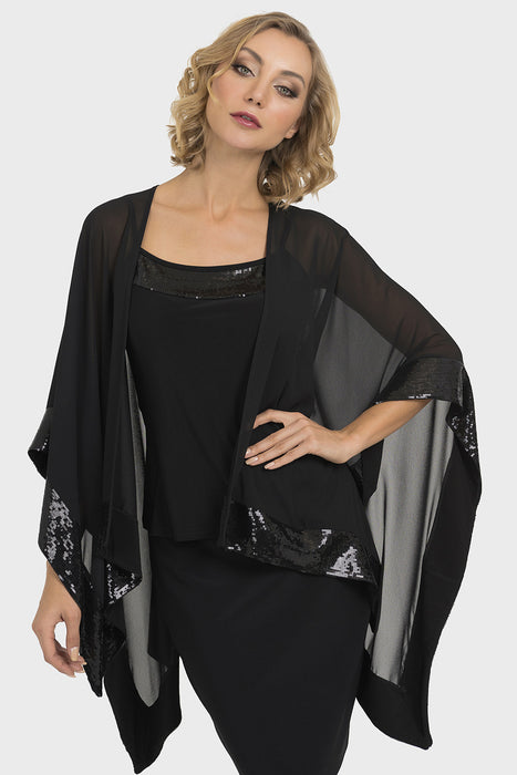 Joseph Ribkoff Style 193438 Black Sequin Accent Sheer Wrap Twin Set Top
