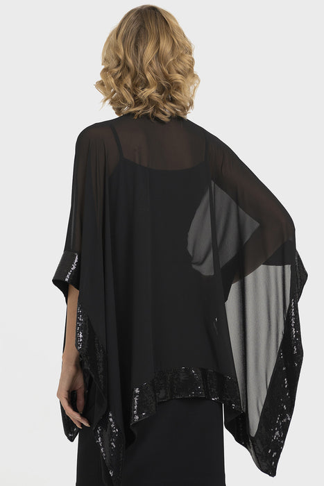 Joseph Ribkoff Black Sequin Accent Sheer Wrap Twin Set Top 193438 NEW